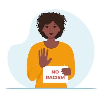Afroamerikanische frau hält kein rassismuszeichen.