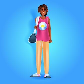 Afroamerikanische frau in freizeitkleidung weibliche zeichentrickfigur