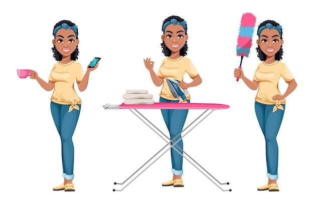 Afroamerikanische hausfrau mit drei posen schöne dame-cartoon-figur bei hausarbeit