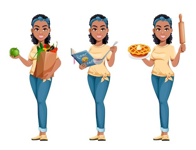 Afroamerikanische hausfrau-set von drei posen süße dame-cartoon-figur, die hausarbeit macht