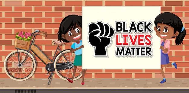 Afroamerikanische mädchen halten schwarze leben materie banner