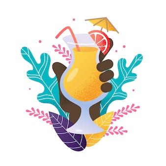 Afroamerikanische menschliche hand der karikatur hält sommer-exotisches cocktail