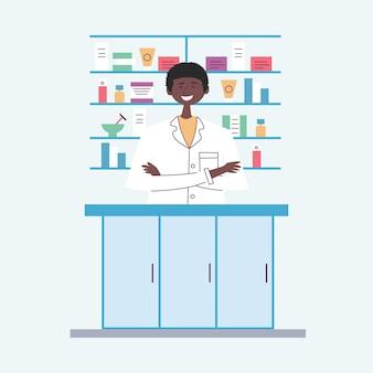 Afroamerikanischer apotheker hinter der theke