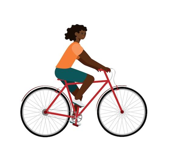 Afroamerikanischer fahrer auf dem fahrrad. frau im flachen vektorcharakter des fahrrades.