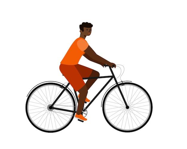Afroamerikanischer fahrer auf dem fahrrad. mann im flachen vektorcharakter des fahrrades.