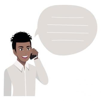 Afroamerikanischer geschäftsmann, der auf handy spricht. illustration in einem stil