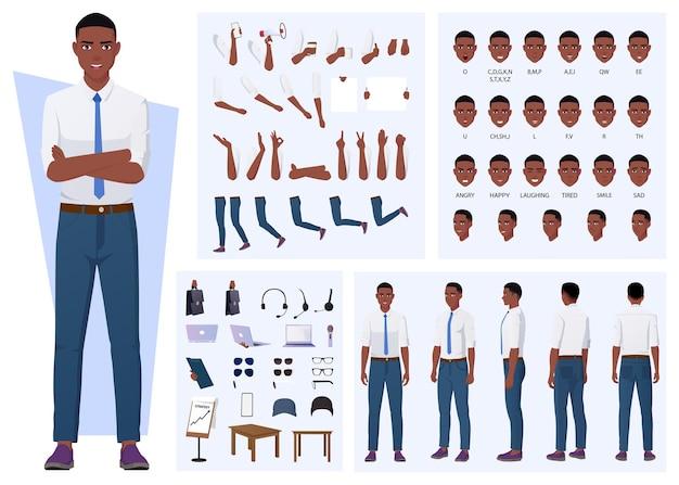 Afroamerikanischer mann charaktererstellung mit gesten, gesichtsausdrücken und verschiedenen posen