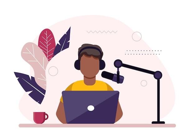 Afroamerikanischer radiomoderator, der vor mikrofonillustration sitzt