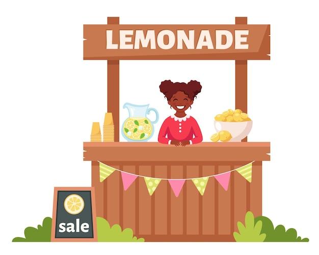 Afroamerikanisches mädchen, das kalte limonade im limonadenstand verkauft