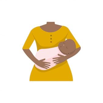 Afroe-amerikanisch mutter mit einem baby. vektor-illustration