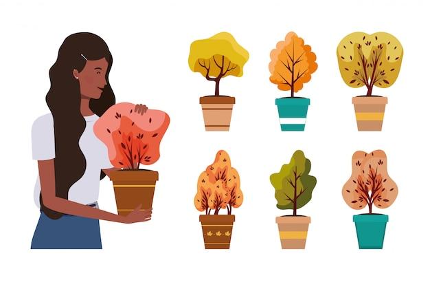 Afrofrau mit herbstpflanzen in den keramischen töpfen