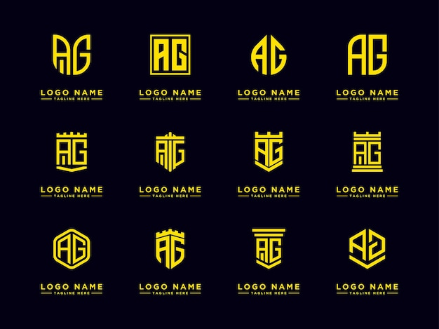 Ag anfangsbuchstaben logo set anfangsvorlagen