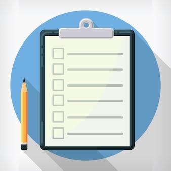 Agenda-zwischenablageliste im flachen stil