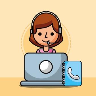 Agent frau laptop und adressbuch kundenservice
