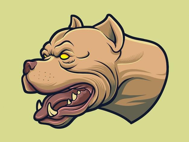 Aggressiver amerikanischer pitbull hund