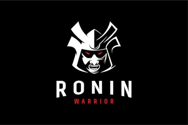 Aggressives logo des japanischen kriegers ronin