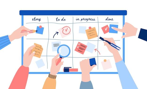 Agile entwicklung des scrum-teams mit kanban-methodik mit klebepapier