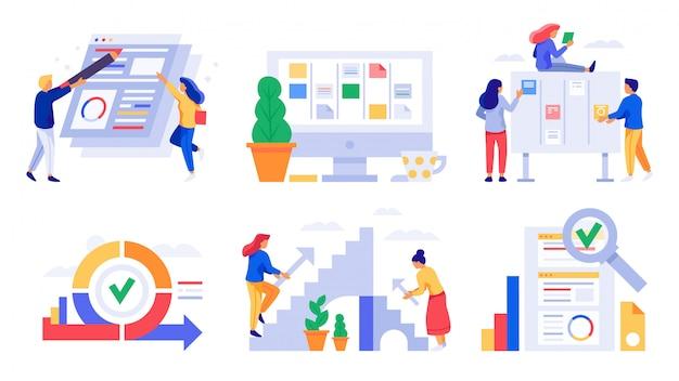 Agile entwicklung. scrum board sprints, kanban management team aufgaben und business agility work strategy vektor illustration set