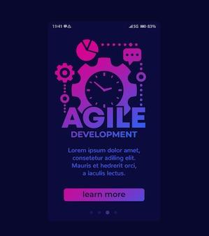Agile softwareentwicklung, mobiles vektordesign