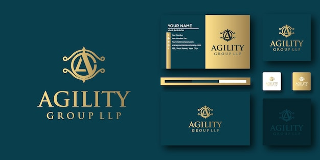 Agility law logo briefvorlage mit modernem konzept und visitenkartendesign