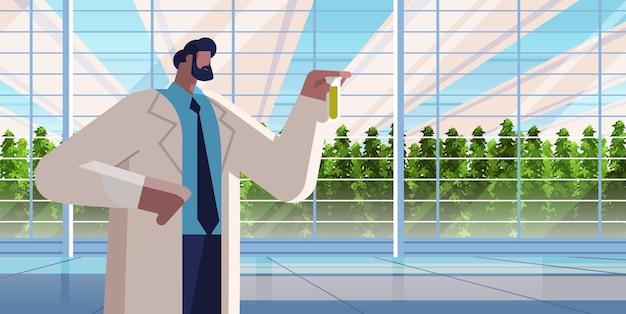 Agraringenieur, der reagenzglas mit chemikalienmann hält, der pflanzen im gewächshaus-landwirtschaftswissenschaftler erforscht