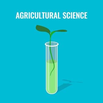 Agrarwissenschaftliches konzept, das spross in glasröhre zeigt
