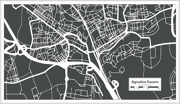 Agualva cacem portugal stadtplan im retro-stil. übersichtskarte. vektor-illustration.
