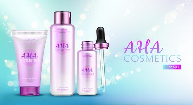 Aha-kosmetiklinie auf blauem steigungshintergrund mit scheinen.