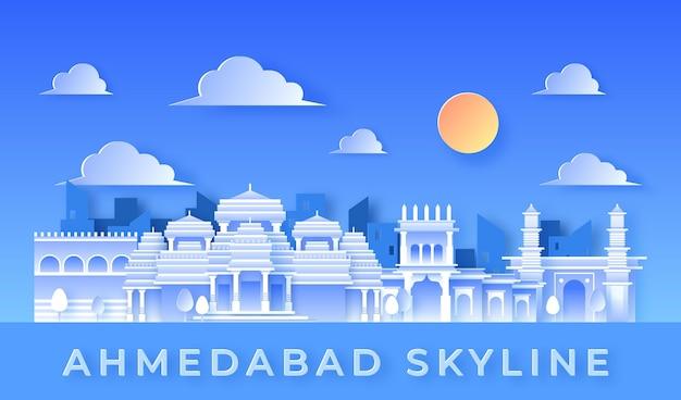 Ahmedabad skyline im papierstil