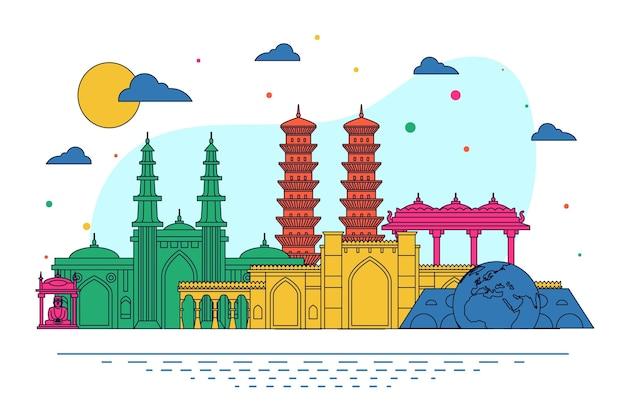 Ahmedabad skyline mit leuchtenden farben