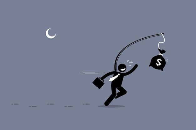 Ahnungsloser mann, der eine tüte geld jagt. die grafikillustration zeigt dummheit, dummheit, unwissenheit und köder.