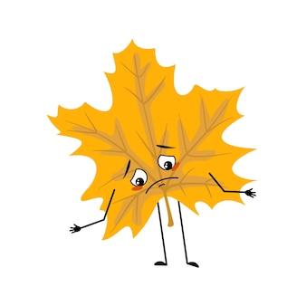 Ahornblatt-charakter mit traurigen emotionen deprimiert mit dem gesicht nach unten, augen, armen und beinen, eine lustige waldpflanze, die ich ...