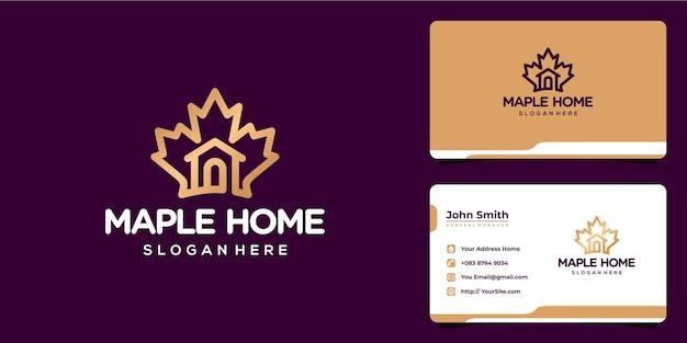 Ahornblatt-kombination mit home-logo-design und visitenkarte