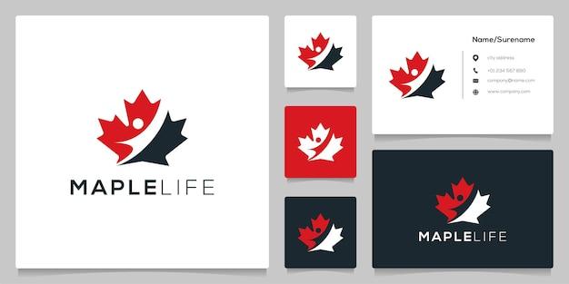 Ahornblatt negativer raum menschliches logo-design mit visitenkarte