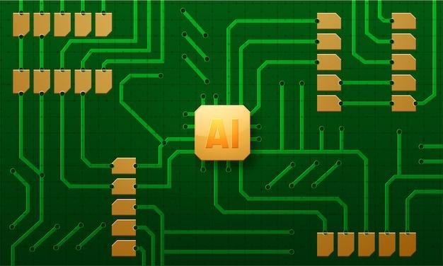 Ai-chip in einer computerplatine eingefügt.