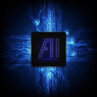 Ai-chipsatz auf leiterplatte in der futuristischen konzeptillustration
