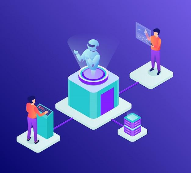 Ai entwicklungskonzept für künstliche intelligenz mit roboter und personenentwickler mit isometrischem stil
