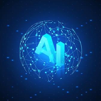 Ai-hologramm im globalen netzwerk. künstliche intelligenz isometrisch. ai-header. futuristischer technologiehintergrund.