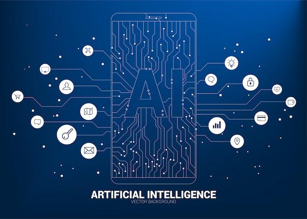 Ai im handy mit stromkreislinie grafik. konzept der mobilen telekommunikation mit maschinellem lernen. künstliche intelligenz