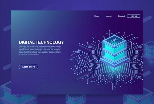 Ai. konzept des big data processing centers, der cloud-datenbank, der station der zukunft, des data mining und des energieservers. digitale informationstechnologien, maschinenprogrammierung. vektorillustration.