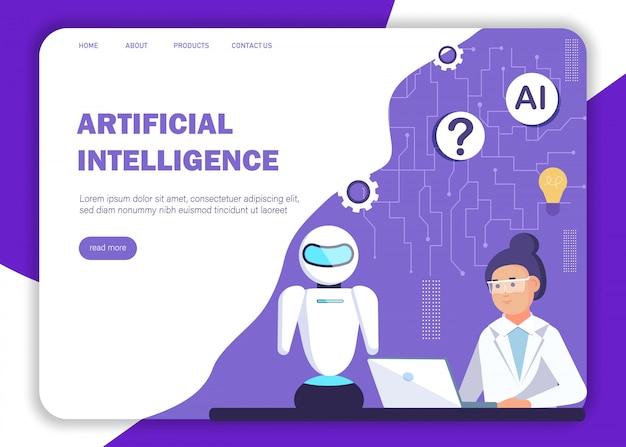Ai konzept. landingpage-vorlage für künstliche intelligenz