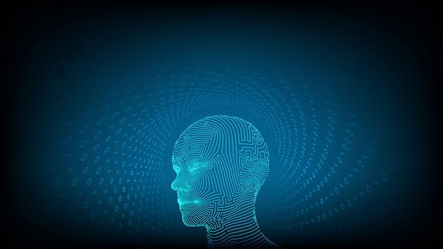 Ai. künstliche intelligenz . abstraktes wireframe digitales menschliches gesicht.