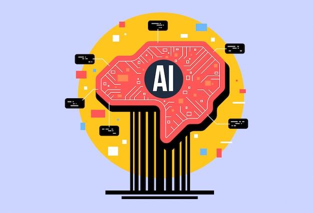 Ai, künstliche intelligenz komposition, gehirn mit elektronischen neuronen.