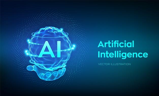 Ai. künstliche intelligenz logo in der hand. kugelrasterfeldwelle mit binärem code.