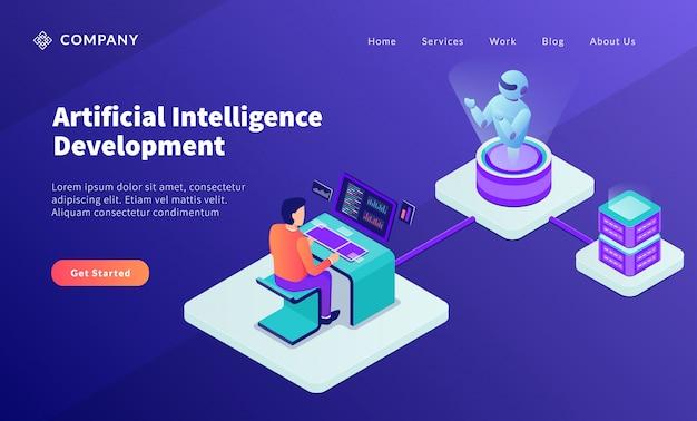 Ai künstliches intelligenz entwicklungskonzept mit programmierer entwickeln roboter