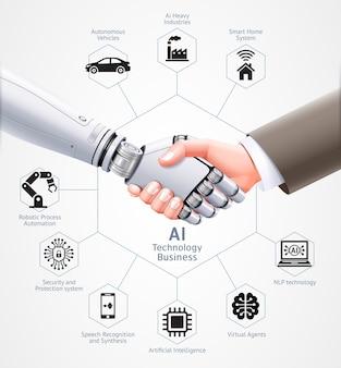 Ai roboter und geschäftsmann handschlag zusammen