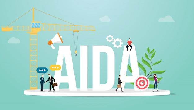 Aida-aufmerksamkeitsinteressenswunschaktionsverkaufstrichter-marketing-geschäftskonzept mit teamleuten