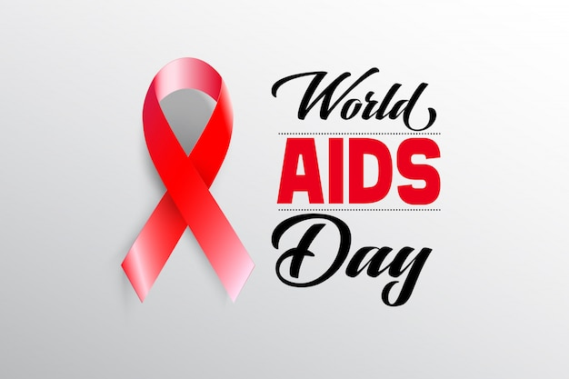 Aids awareness red ribbon mit welt-aids-tag-konzept.