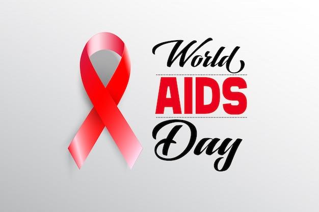Aids awareness red ribbon mit welt-aids-tag-konzept.