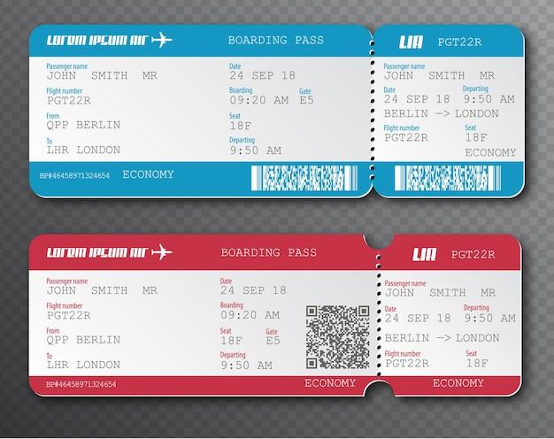 Airline boarding pass ticket tear-off elementsatz, isoliert auf transparentem hintergrund. vektor-illustration. rote und blaue passagierflugkarte mit qr-code. reisen mit dem flugzeug.